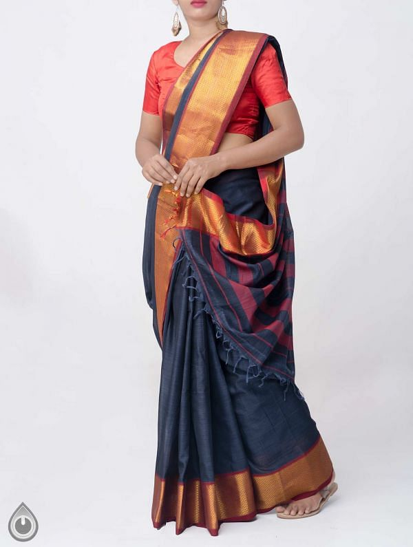 Grey Pure Handloom Narayanpet Cotton Saree with Tassels -UNM37673