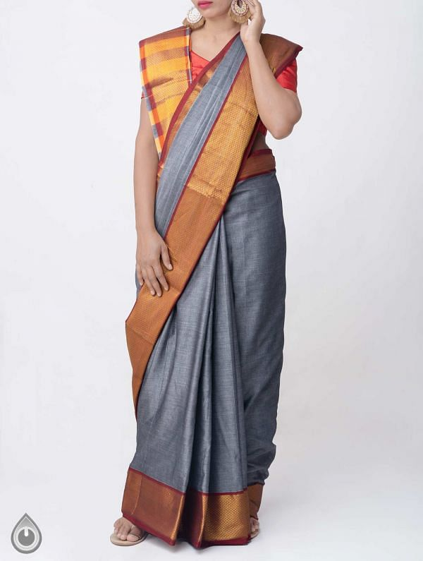 Grey Pure Handloom Narayanpet Cotton Saree with Tassels -UNM37676