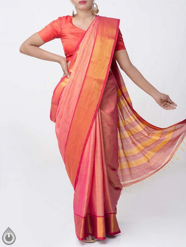 Pink Pure Handloom Narayanpet Cotton Saree with Tassels -UNM37679