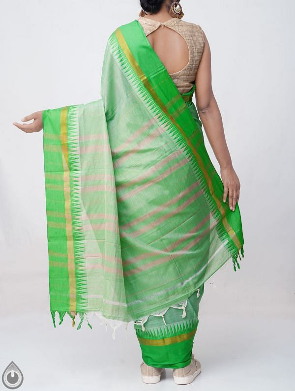 Green Pure Handloom Narayanpet Cotton Saree with Tassels -UNM37686
