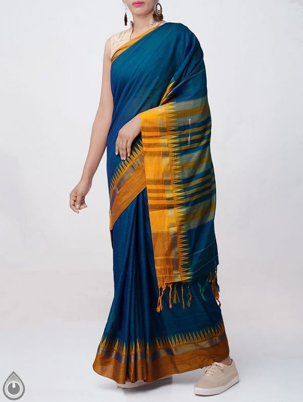 Green-Blue Pure Handloom Narayanpet Cotton Saree with Tassels -UNM37690