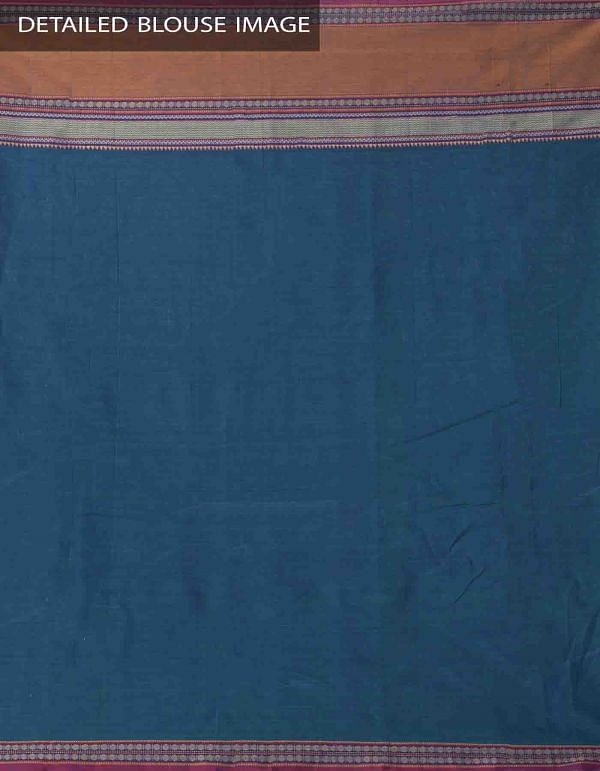 Blue-Green Pure Handloom Narayanpet Cotton Saree with Tassels