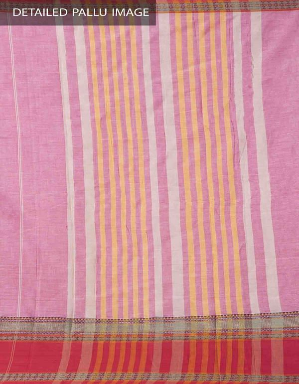 Pink Pure Handloom Narayanpet Cotton Saree with Tassels