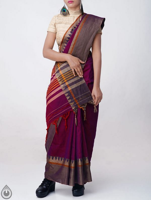 Purple Pure Handloom Narayanpet Cotton Saree with Tassels