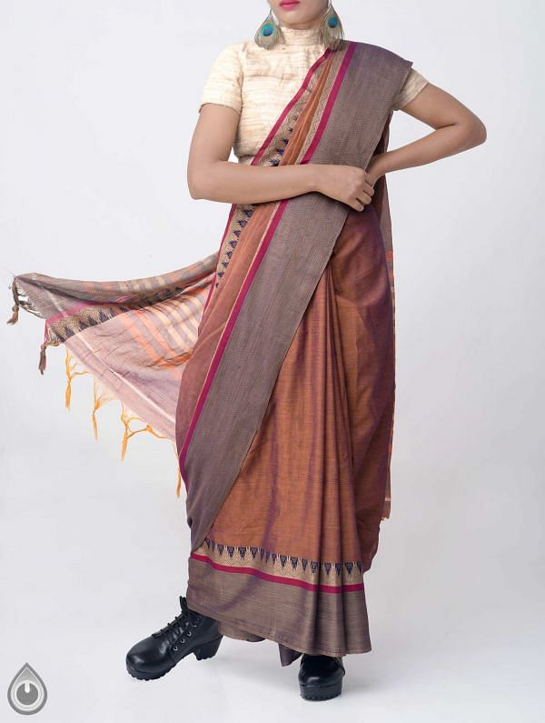 Online Shopping for Brown-Blue Pure Handloom Narayanpet Cotton Saree with Tassels with Weaving from Andhra Pradesh at Unnatisilks.comIndia