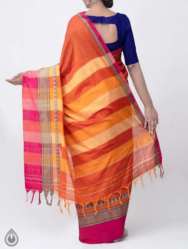 Orange Pure Handloom Narayanpet Cotton Saree with Tassels -UNM37719