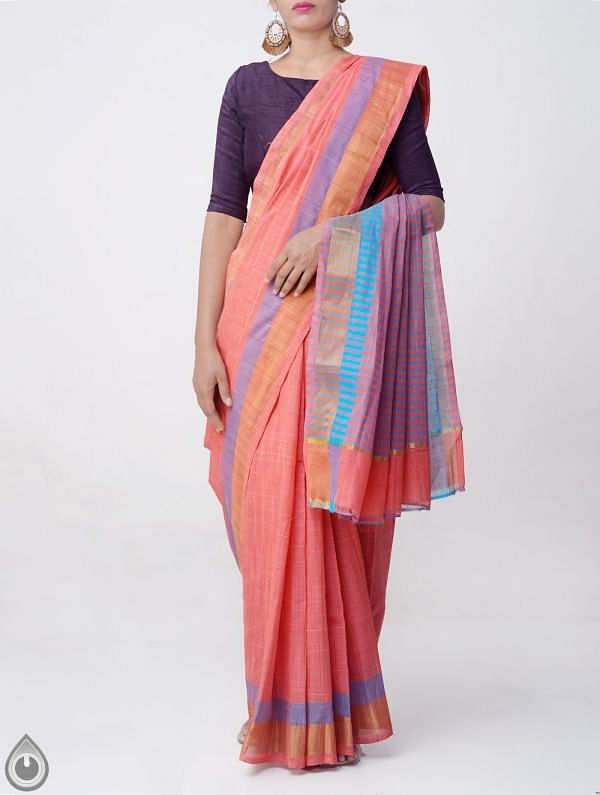 Online Shopping for Red Pure Mangalagiri Cotton Saree with Tassels with Weaving from Andhra Pradesh at Unnatisilks.comIndia