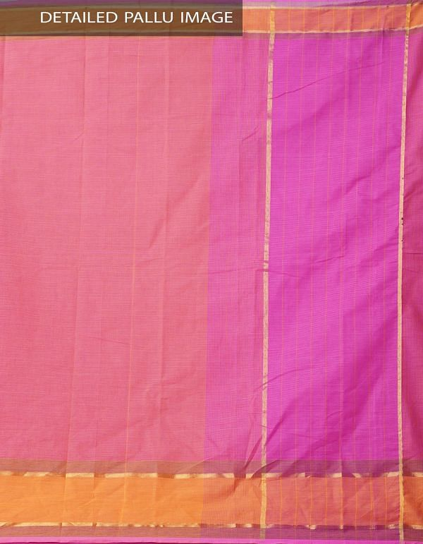Pink Pure Mangalagiri Cotton Saree with Tassels-UNM37838