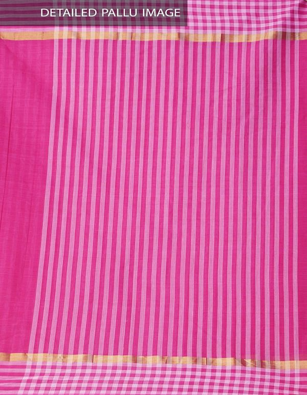 Pink Pure Mangalagiri Cotton Saree with Tassels-UNM37839