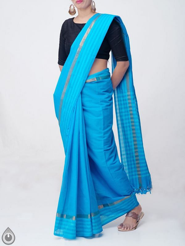 Online Shopping for Blue Pure Mangalagiri Cotton Saree with Tassels with Weaving from Andhra Pradesh at Unnatisilks.comIndia