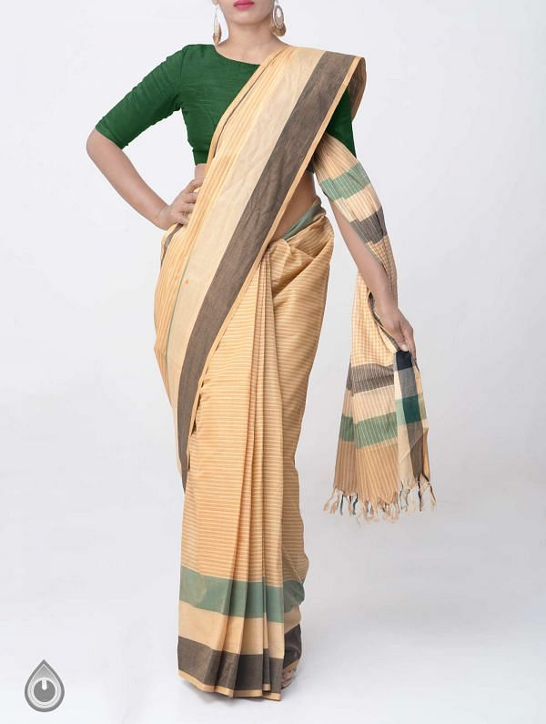 Online Shopping for Brown Pure Mangalagiri Cotton Saree with Tassels with Weaving from Andhra Pradesh at Unnatisilks.comIndia