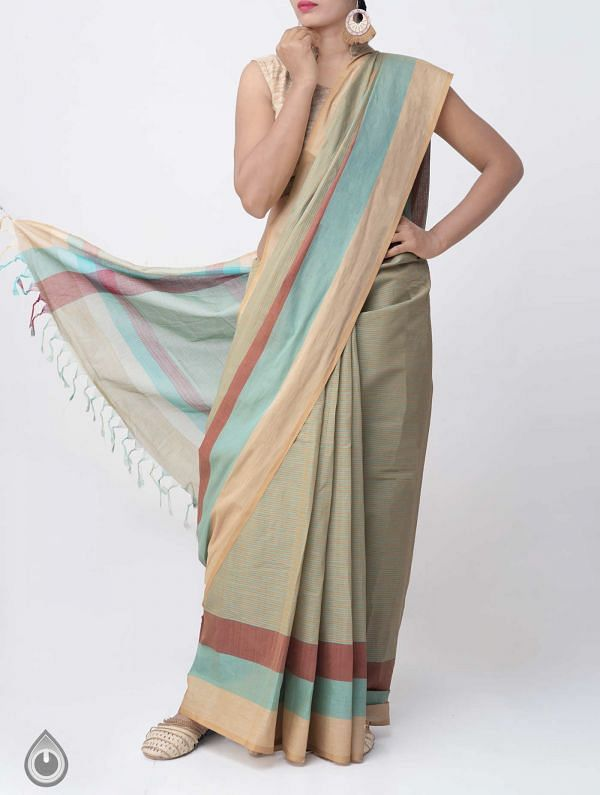 Brown-Green Pure Mangalagiri Cotton Saree with Tassels-UNM37845