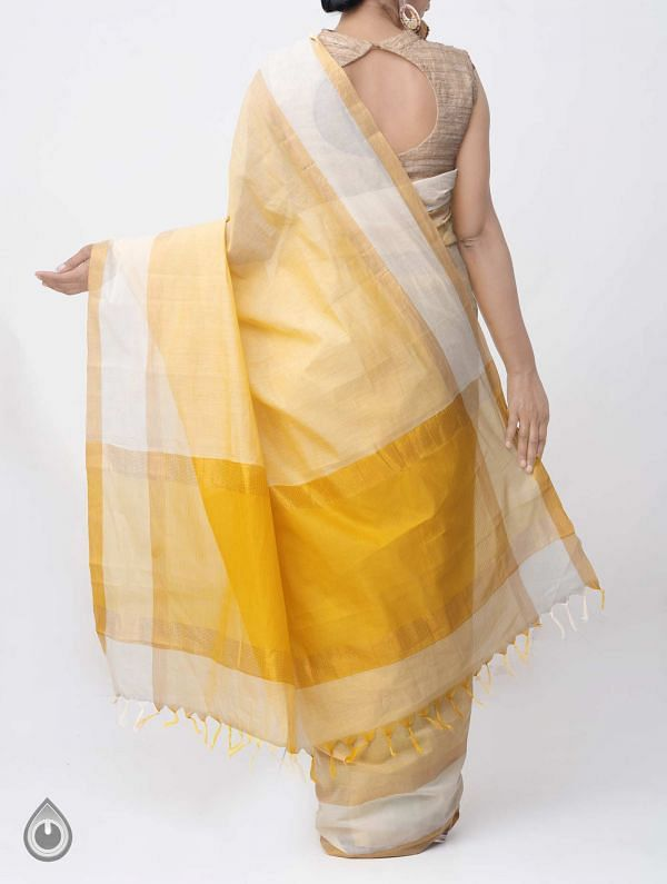 Yellow Pure Mangalagiri Cotton Saree with Tassels-UNM37849