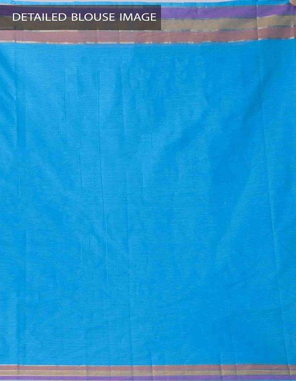 Blue Pure Mangalagiri Cotton Saree with Tassels-UNM37851