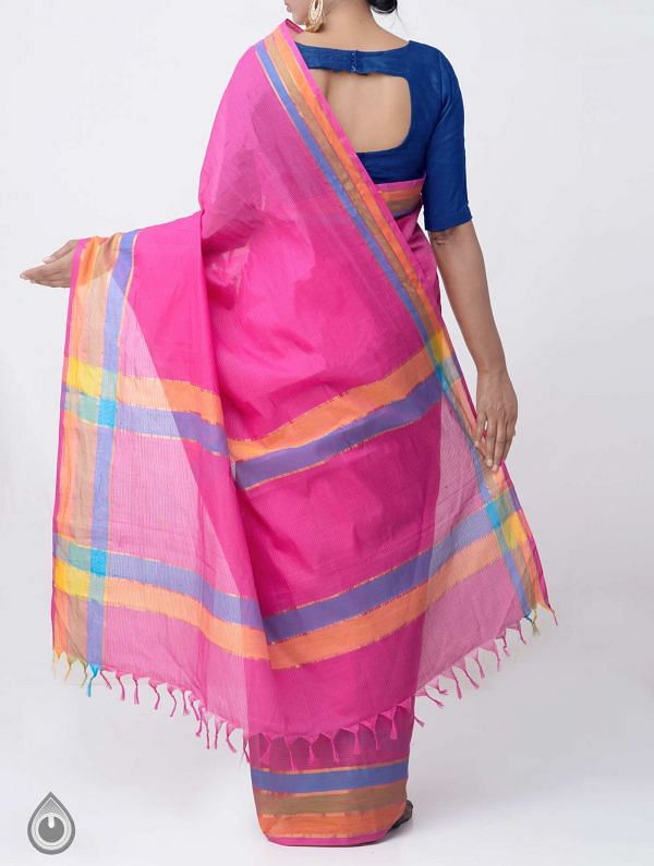 Pink Pure Mangalagiri Cotton Saree with Tassels-UNM37852