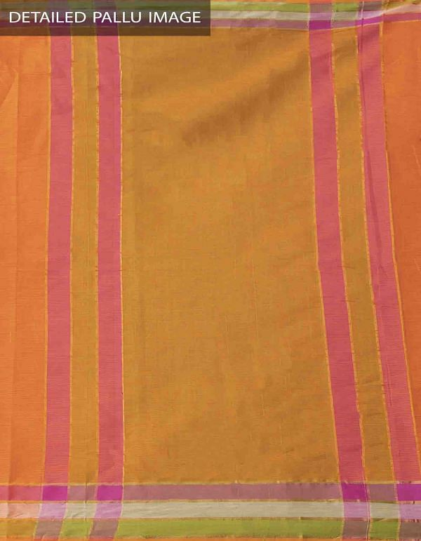 Online Shopping for Orange Pure Mangalagiri Cotton Saree with Tassels with Weaving from Andhra Pradesh at Unnatisilks.comIndia