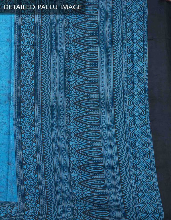 Blue Pure Handloom Bengal Silk Saree with Sunderban Prints-UNM37871