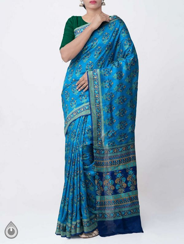 Blue Pure Handloom Bengal Silk Saree with Sunderban Prints-UNM37874