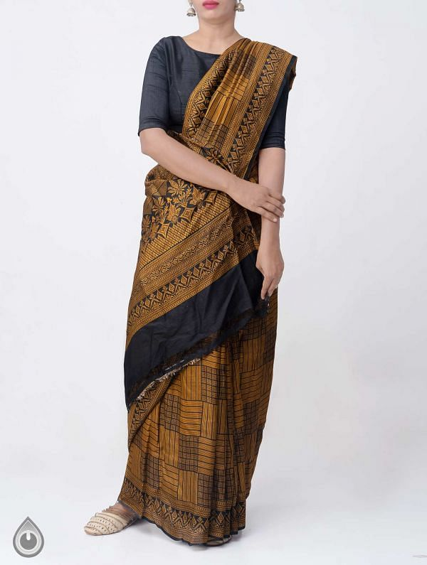 Online Shopping for Yellow Pure Handloom Bengal Silk Saree with Fancy Prints with Fancy Prints from West Bengal at Unnatisilks.comIndia