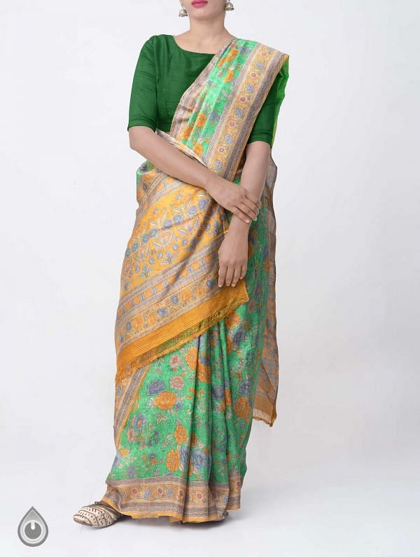 Green Pure Handloom Bengal Silk Saree with Sunderban Prints-UNM37882