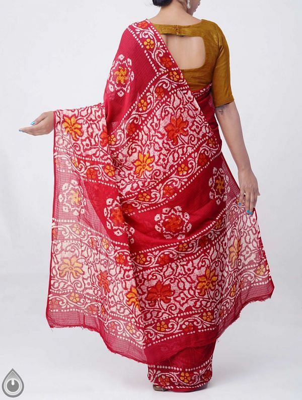 Red Pure Batik Cotton Saree -UNM37883