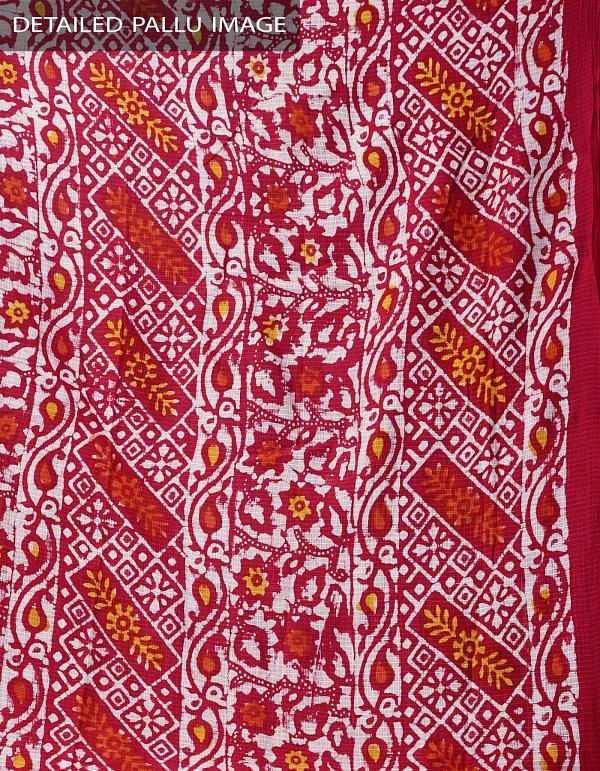 Online Shopping for Red Pure Batik Cotton Saree with Batik Prints from Bihar at Unnatisilks.comIndia
