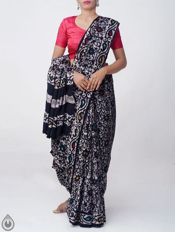 Black Pure Batik Cotton Saree -UNM37892