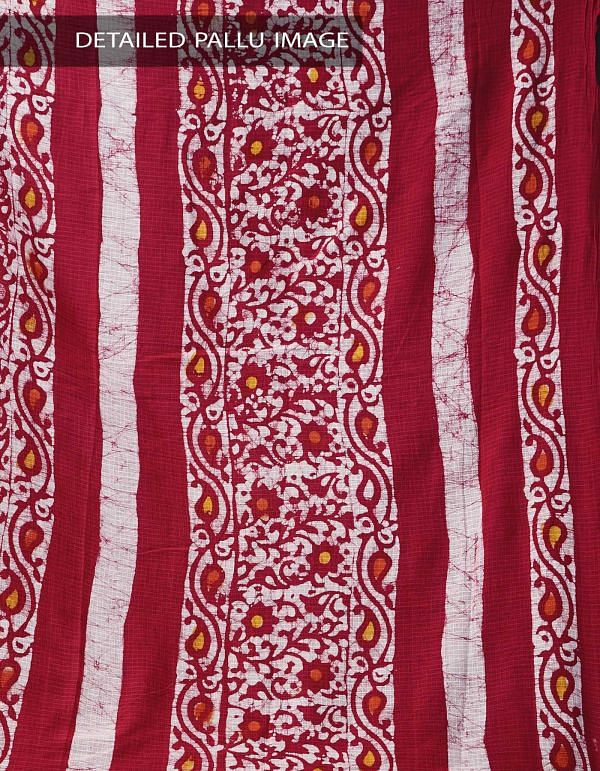 Red Pure Batik Cotton Saree -UNM37893