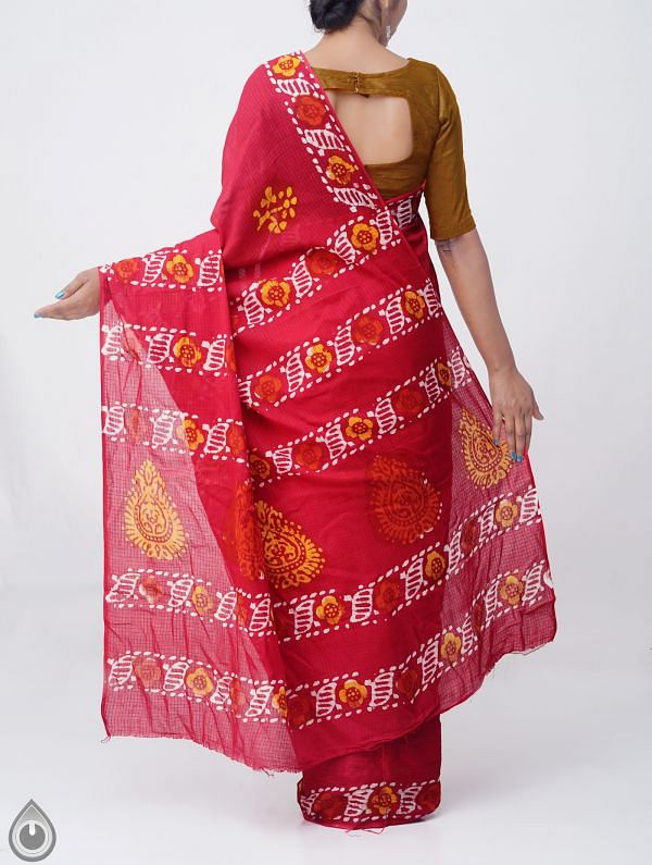 Red Pure Batik Cotton Saree -UNM37896