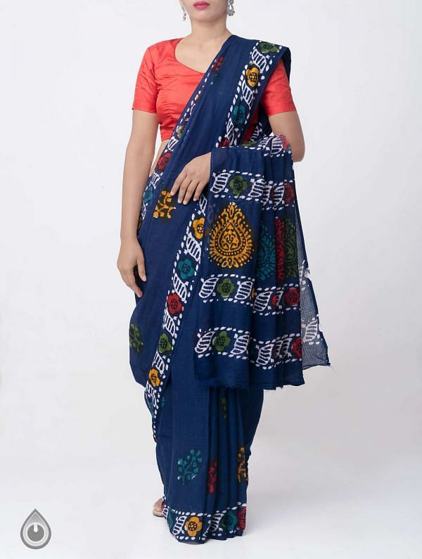 Blue Pure Batik Cotton Saree -UNM37897
