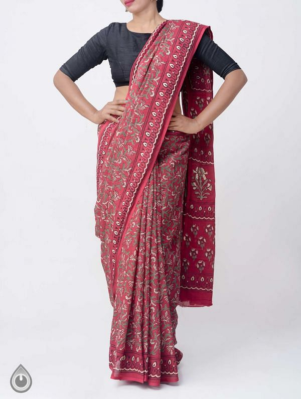 Maroon Hand Block Printed Pure Kota Cotton Saree -UNM37914