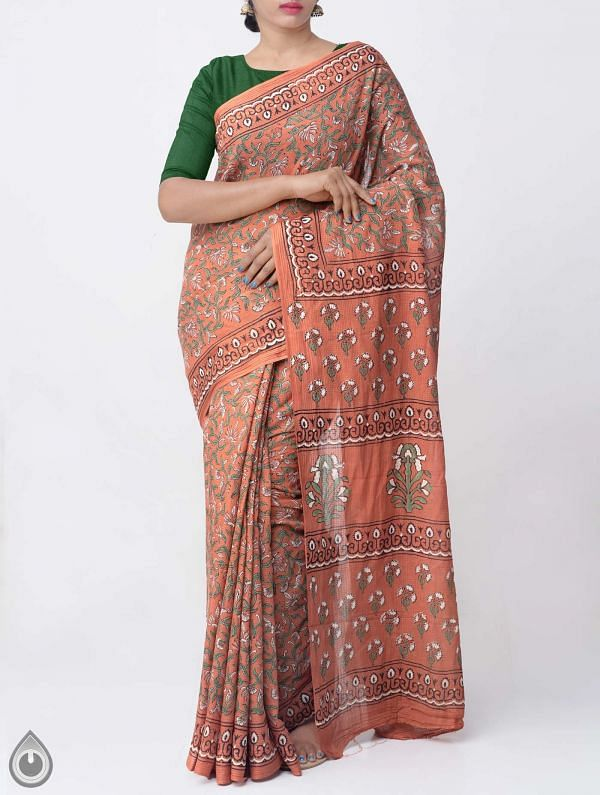 Rust Orange Hand Block Printed Pure Kota Cotton Saree -UNM37915