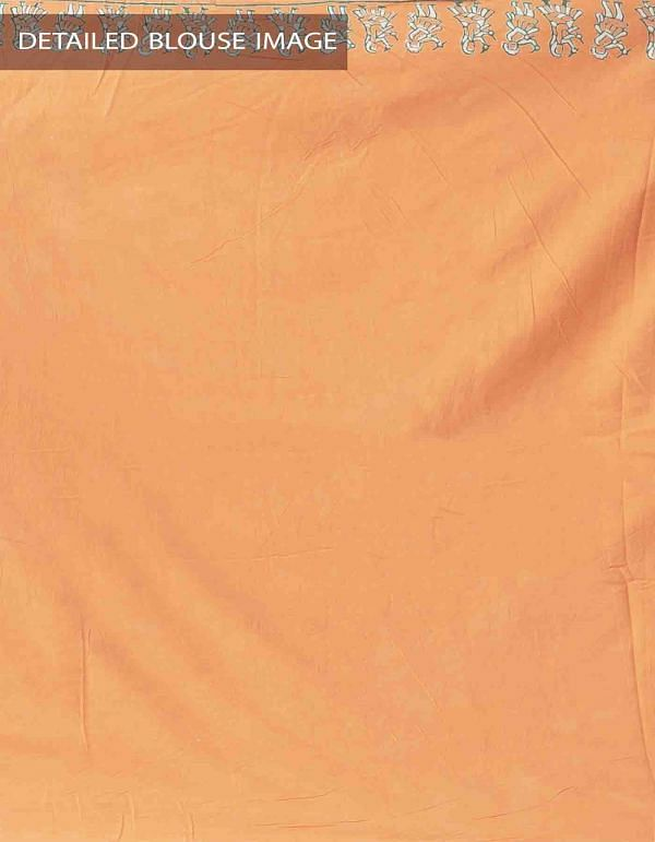 Online Shopping for Orange Hand Block Printed Pure Kota Cotton Saree with Hand Block Prints from Rajasthan at Unnatisilks.comIndia