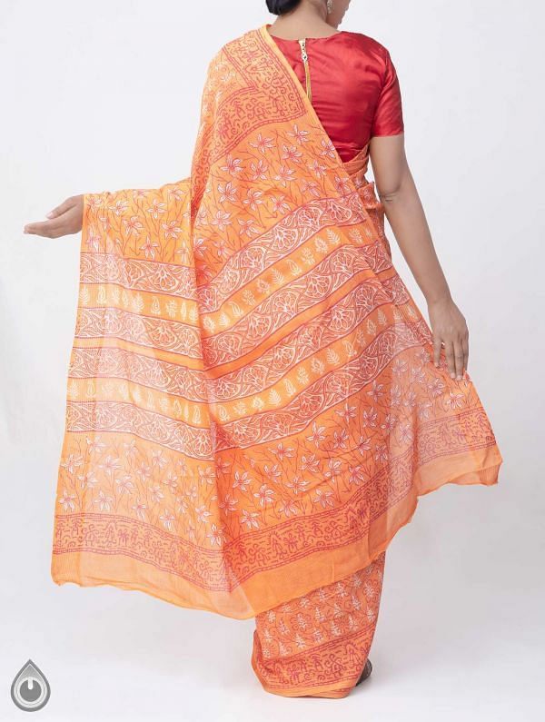 Orange Hand Block Printed Pure Kota Cotton Saree -UNM37921
