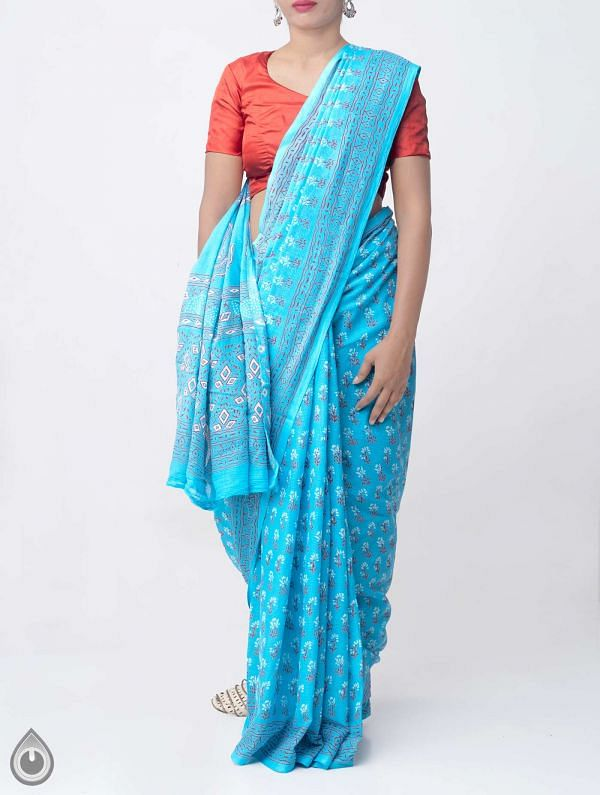 Blue Hand Block Printed Pure Kota Cotton Saree -UNM37925