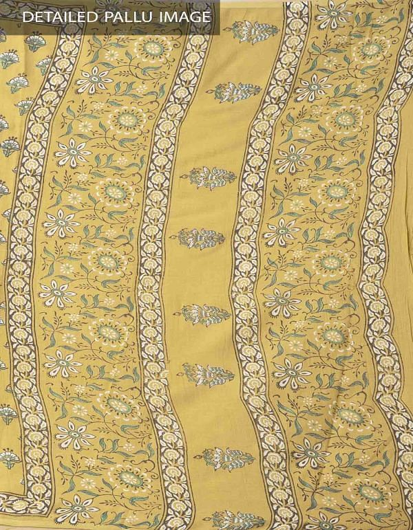 Online Shopping for Yellow Hand Block Printed Pure Kota Cotton Saree with Hand Block Prints from Rajasthan at Unnatisilks.comIndia