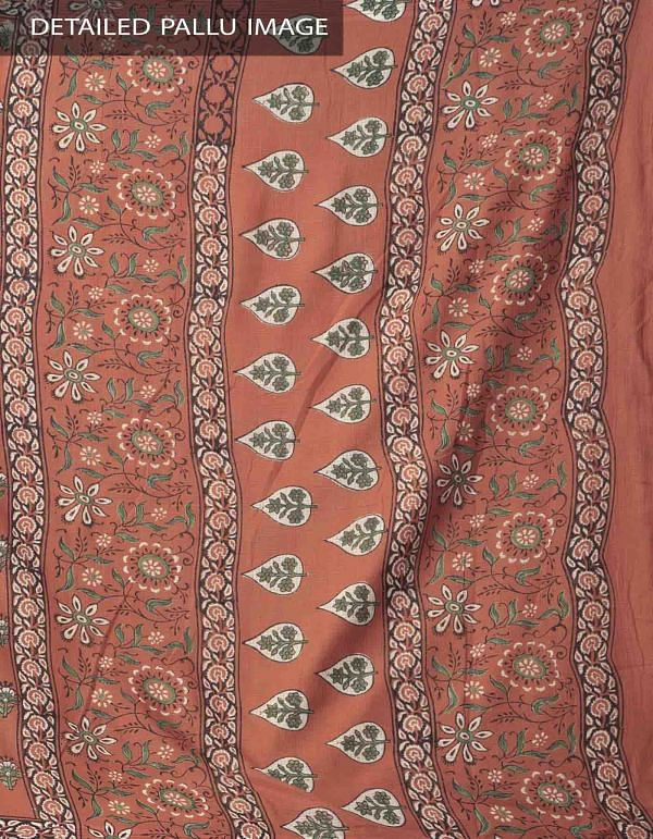 Online Shopping for Rust Orange Hand Block Printed Pure Kota Cotton Saree with Hand Block Prints from Rajasthan at Unnatisilks.comIndia