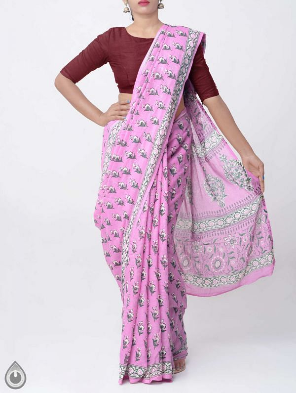 Online Shopping for Pink Hand Block Printed Pure Kota Cotton Saree with Hand Block Prints from Rajasthan at Unnatisilks.comIndia