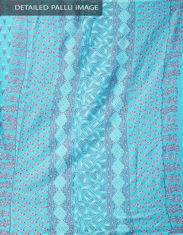 Online Shopping for Turquoise Blue Hand Block Printed Pure Kota Cotton Saree with Weaving from Andhra Pradesh at Unnatisilks.comIndia