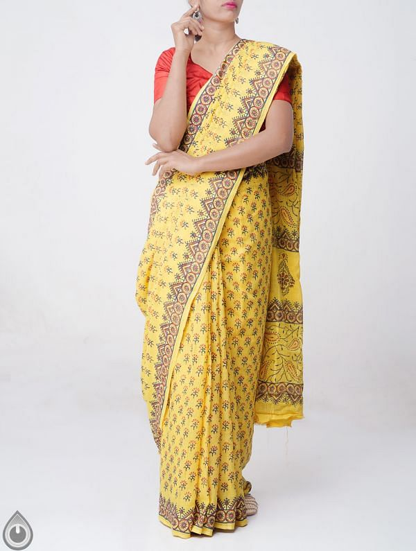 Online Shopping for Yellow Hand Block Printed Pure Kota Cotton Saree with Weaving from Andhra Pradesh at Unnatisilks.comIndia