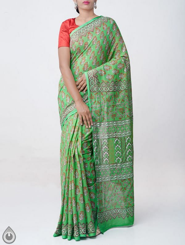 Online Shopping for Green Hand Block Printed Pure Kota Cotton Saree with Hand Block Prints from Rajasthan at Unnatisilks.comIndia