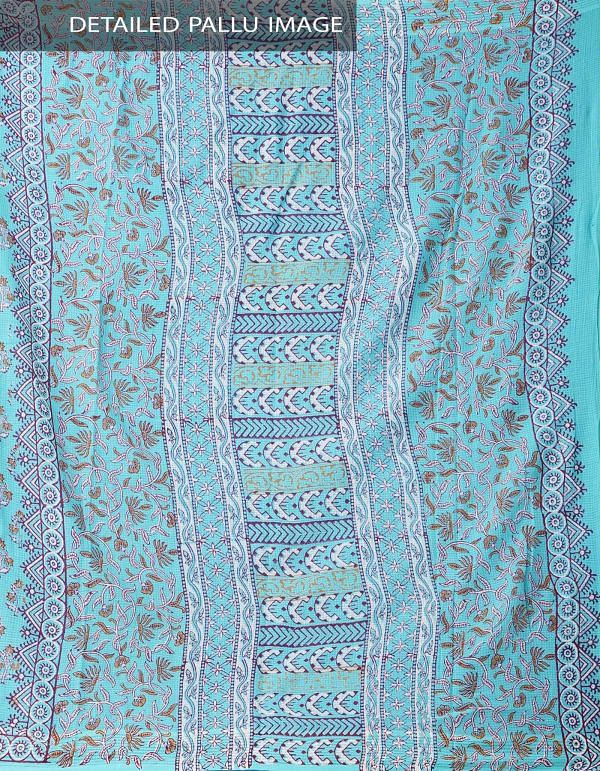 Online Shopping for Turquoise Blue Hand Block Printed Pure Kota Cotton Saree with Hand Block Prints from Rajasthan at Unnatisilks.comIndia