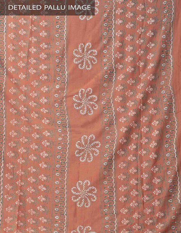 Rust Orange Hand Block Printed Pure Kota Cotton Saree -UNM37955