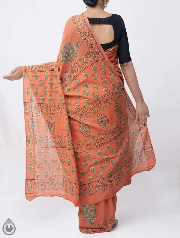 Rust Orange Hand Block Printed Pure Kota Cotton Saree -UNM37959