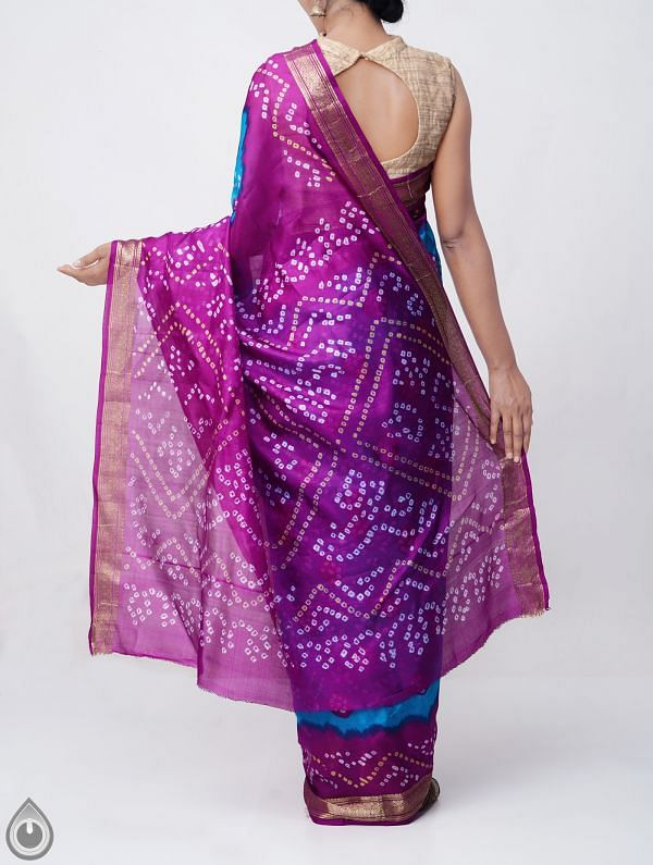 Blue Pure Bandhani Silk Saree -UNM37963