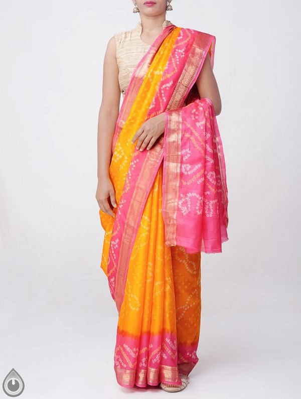 Orange Pure Bandhani Silk Saree -UNM37976