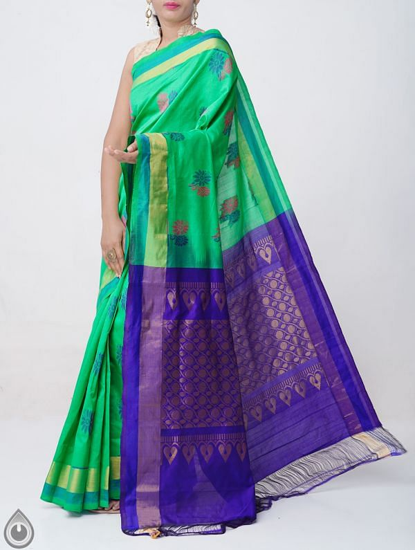 Online Shopping for Green Pure Handloom Kanchi Silk Cotton Saree with Weaving from Tamilnadu at Unnatisilks.comIndia