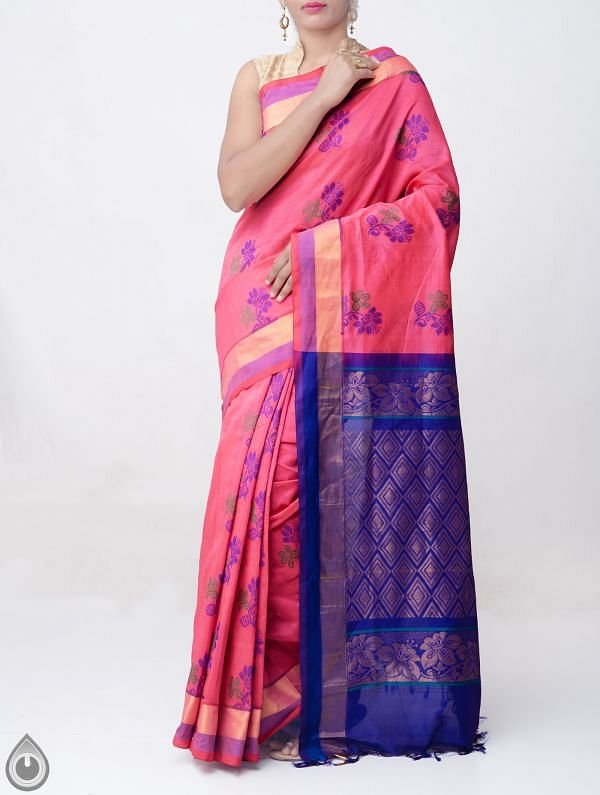 Online Shopping for Pink Pure Handloom Kanchi Silk Cotton Saree with Weaving from Tamilnadu at Unnatisilks.comIndia