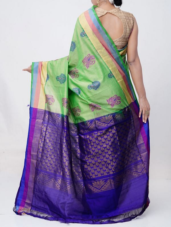 Green Pure Handloom Kanchi Silk Cotton Saree -UNM37986