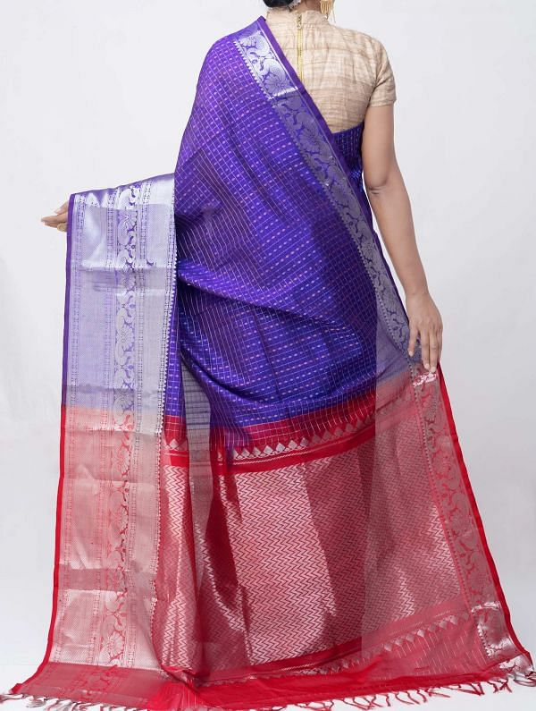 Violet Pure Handloom Arani Kanjivaram Silk Cotton Saree -UNM38003